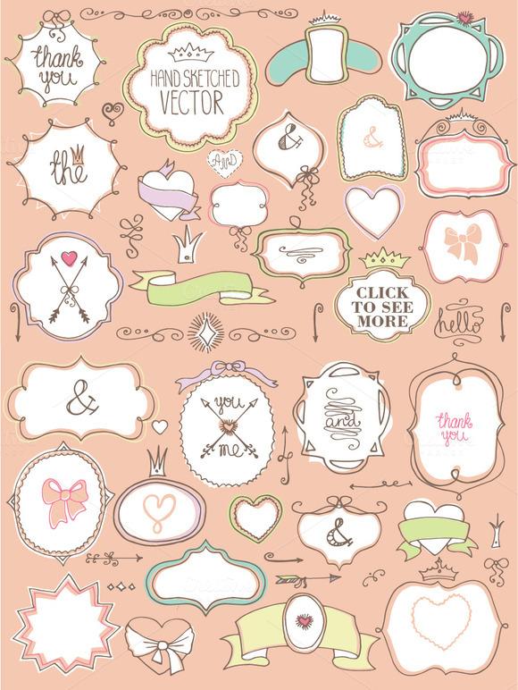 Doodle Badge Decor Elements Set.Love