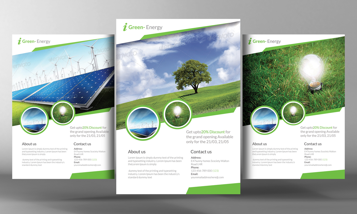 renewable energy go green flyer flyer templates on creative market. Black Bedroom Furniture Sets. Home Design Ideas