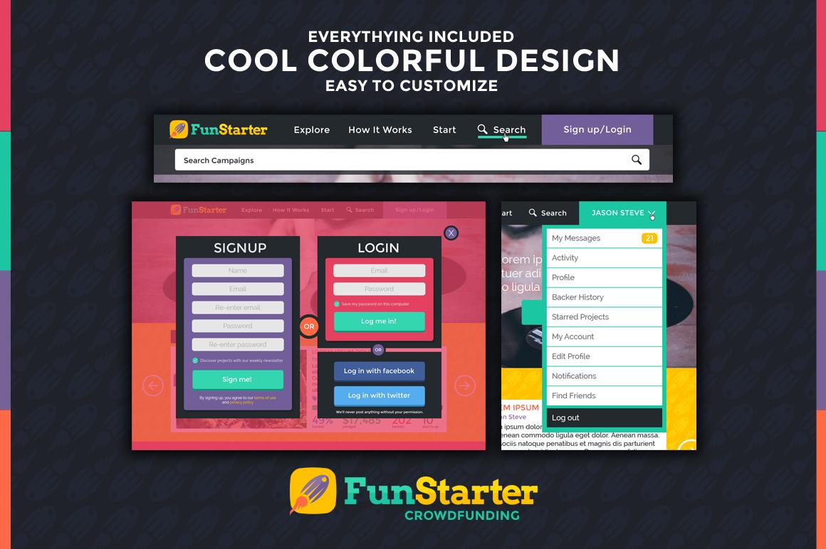 funstarter crowdfunding psd template website templates on creative market. Black Bedroom Furniture Sets. Home Design Ideas
