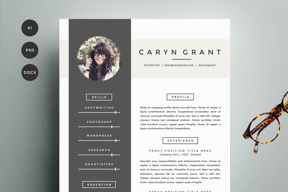 Resume Template 4 Pack | CV Template ~ Resume Templates on ...