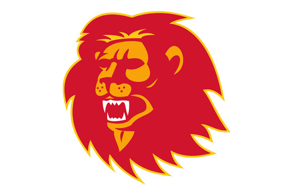 Angry Lion Head Roaring