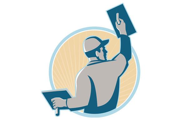 Illustrations Of A Trowel : Plasterer construction worker trowel illustrations on
