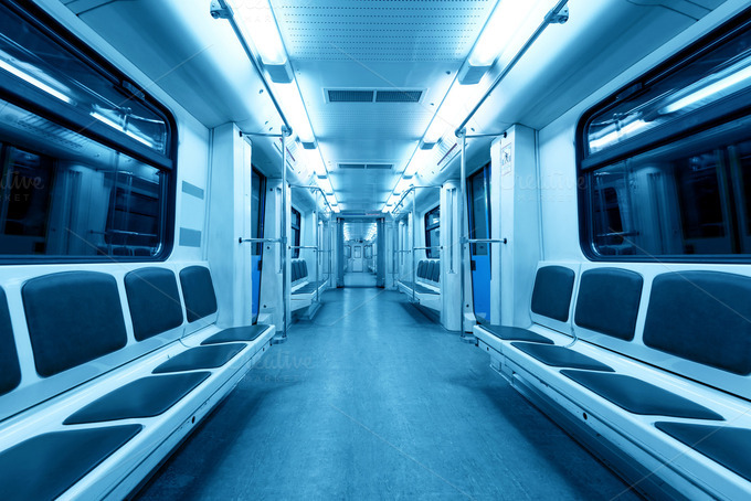 interior view of a subway car transportation photos on creative market. Black Bedroom Furniture Sets. Home Design Ideas