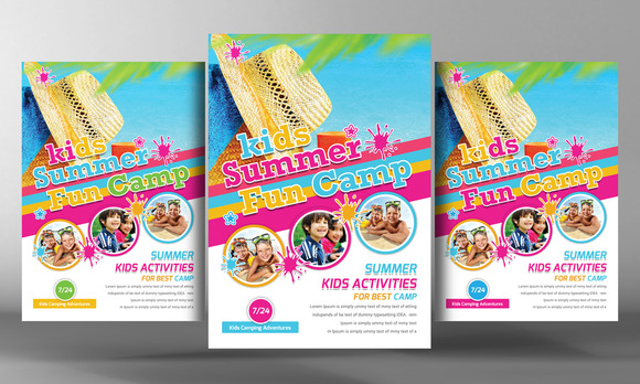 Kids Summer Camp Flyer Template Flyer Templates On