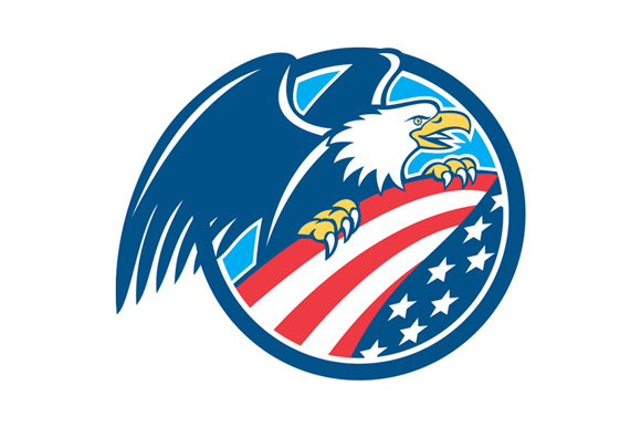 American Bald Eagle Clutching Usa Fl Illustrations On