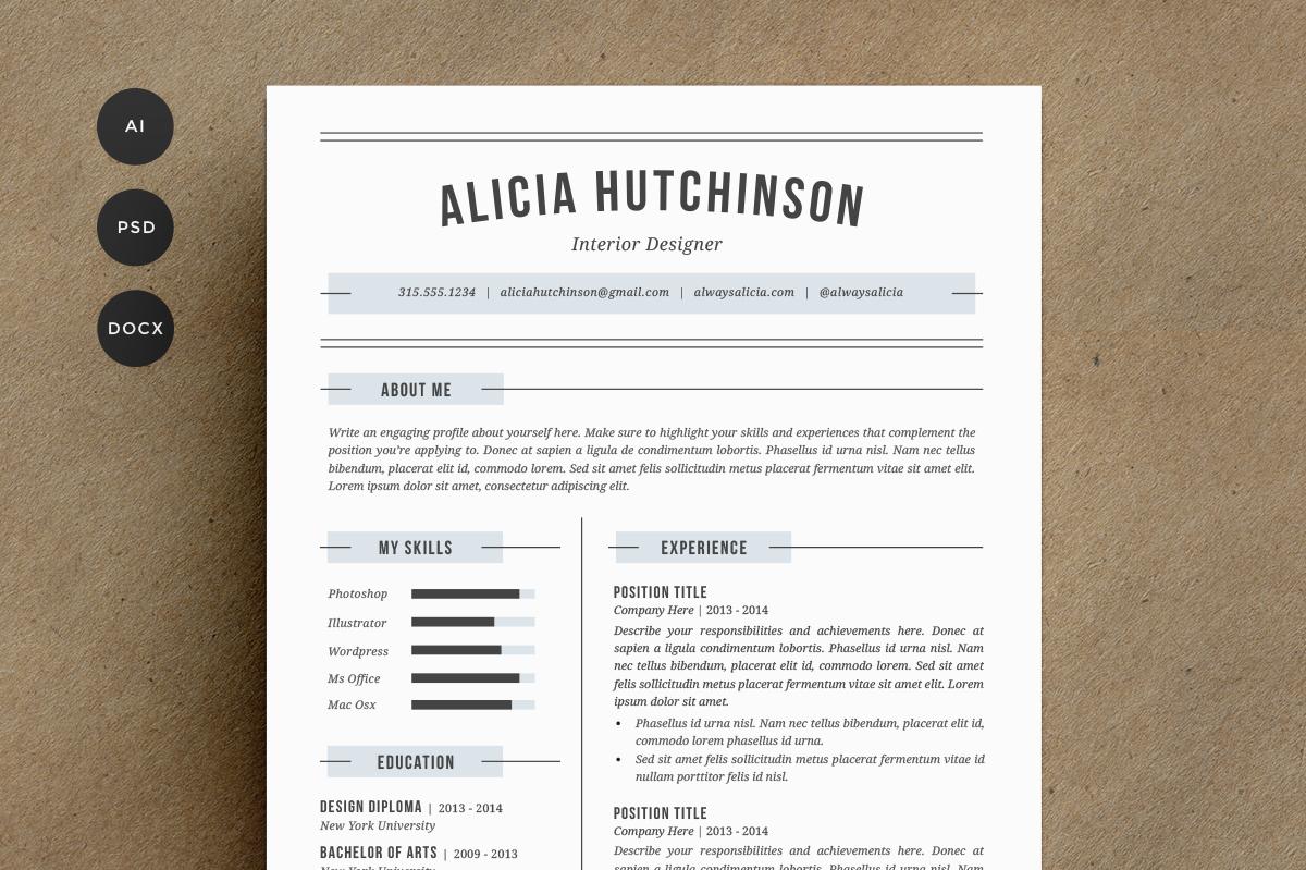 resume template 4 pack cv template resume templates on