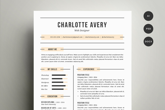 CV Template ~ Resume Templates On Creative Market