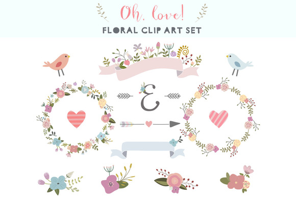 Oh Love Floral Clip Art Set Illustrations On Creative Market