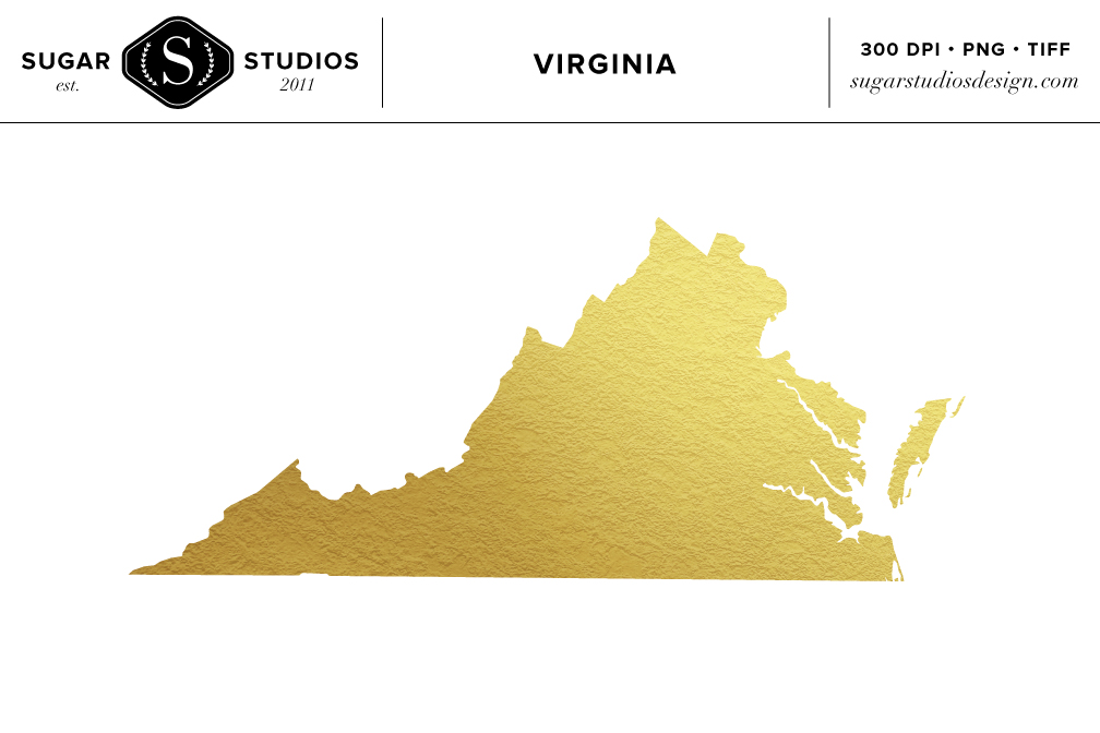 Virginia Gold Foil State Clip Art Objects On Creative Market
