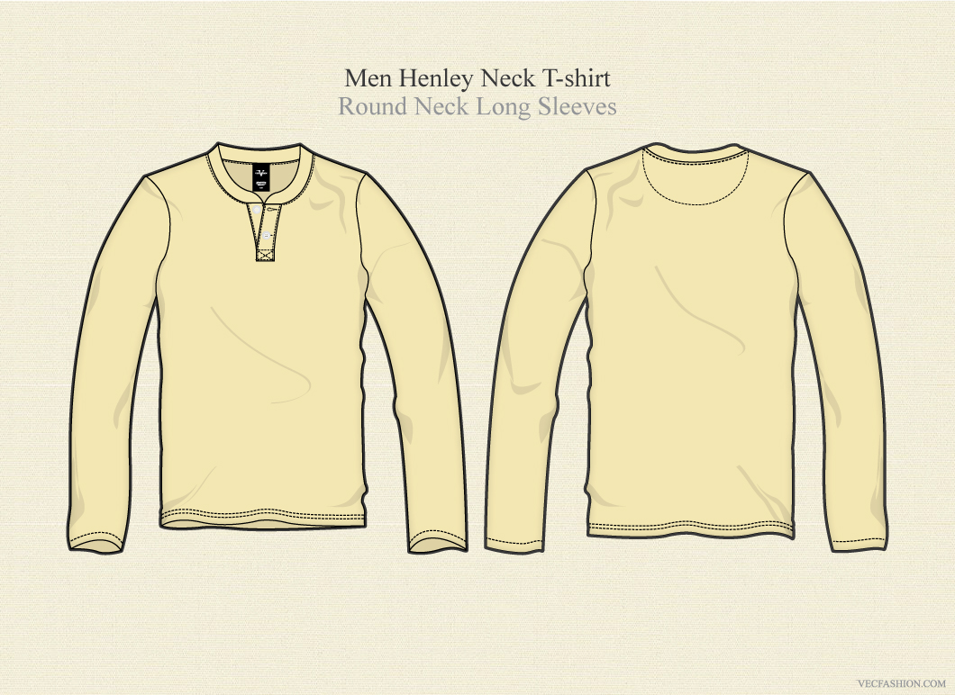 men henley neck t shirt long sleeves illustrations on creative market. Black Bedroom Furniture Sets. Home Design Ideas