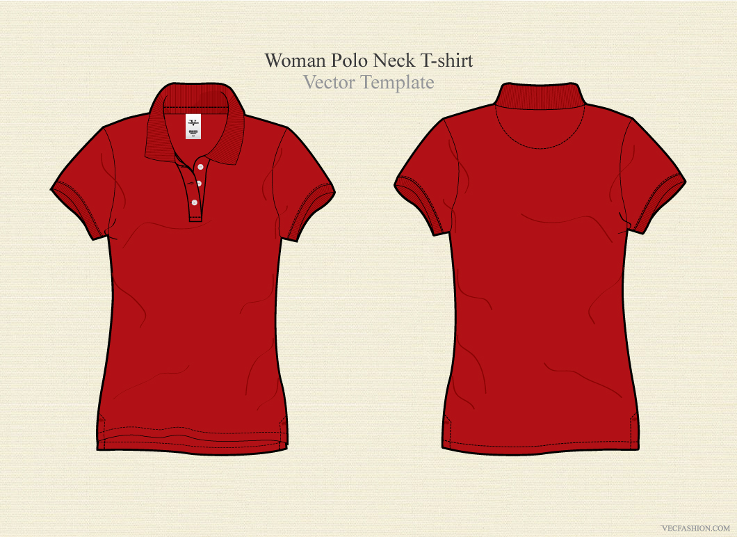 Woman Polo Neck T Shirt Vector Illustrations On Creative