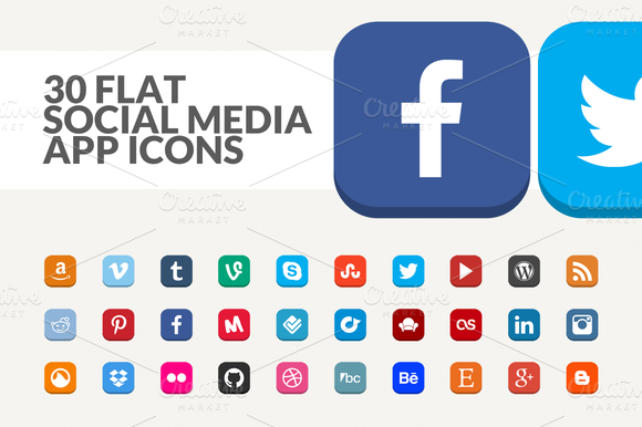 30 Flat Social Media App Icons