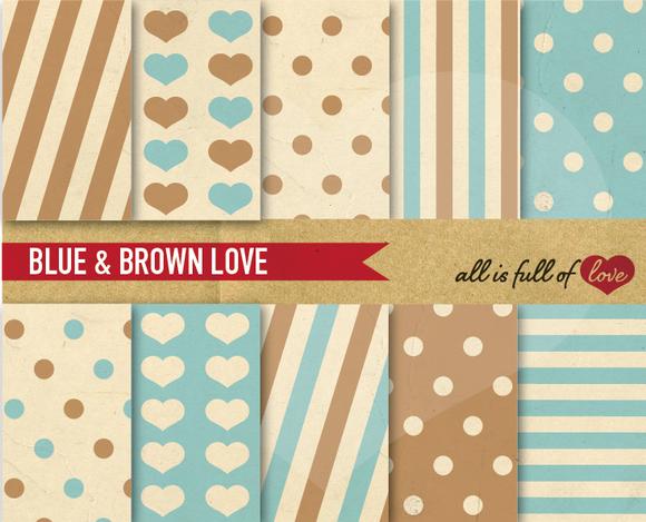 Blue Brown Scrapbooking Patterns