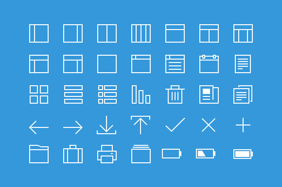 35 Thin Line Icons