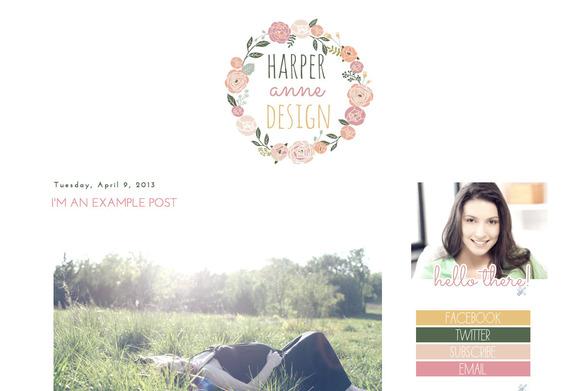 Harper Anne premade blogger template ~ Themes  Free Download