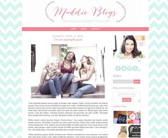 Maddie premade blogger blog template ~ Themes  Free Download