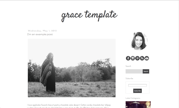 Grace premade blogger blog template ~ Themes  Free Download