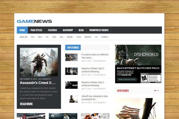 Game News Responsive Game Theme
