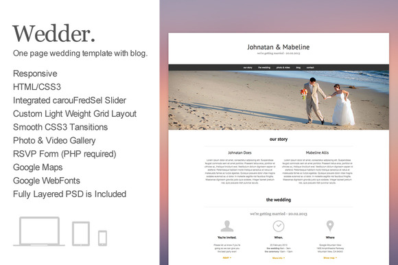 Wedder – One Page Wedding Template ~ Website Templates  Free Download