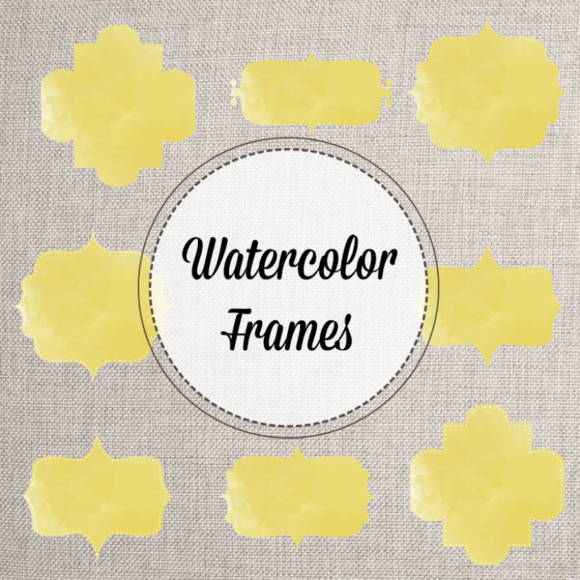 Yellow Watercolor Bracket Frames PNG
