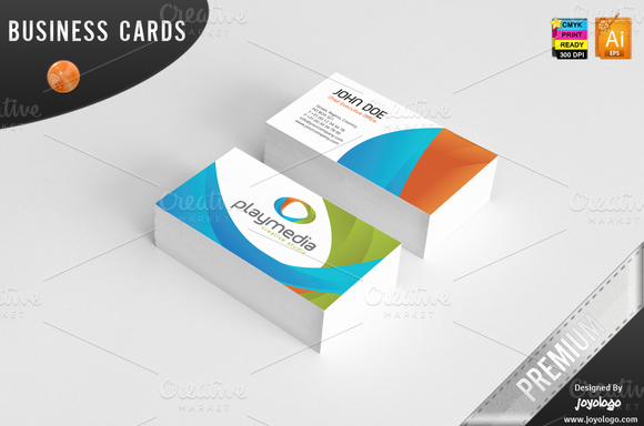3d play media business cards business card templates on for Business card 3d template