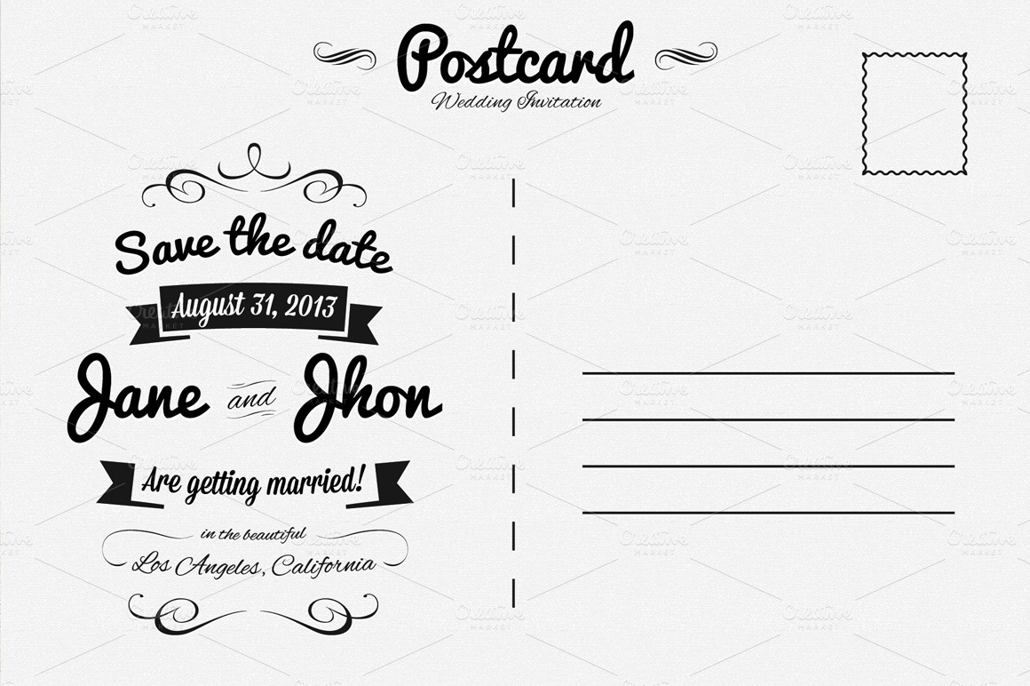 elegant wedding invitation postcard invitation templates on creative market. Black Bedroom Furniture Sets. Home Design Ideas
