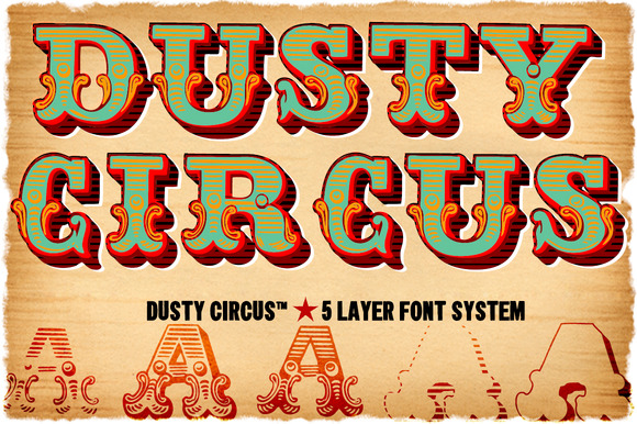 Dusty Circus 5 Layer Font System