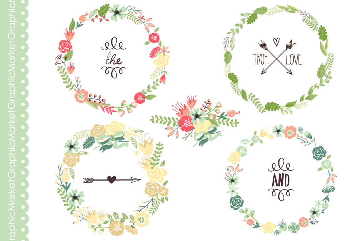 Floral Wreaths Clip Art And Flowers Illustrations On