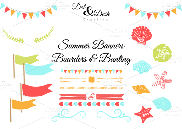 Summer Bunting Banners Boarders