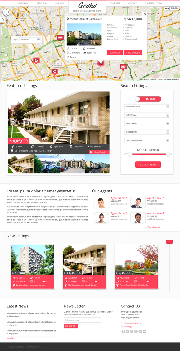 Graha – Real Estate HTML Template ~ Website Templates  Free Download