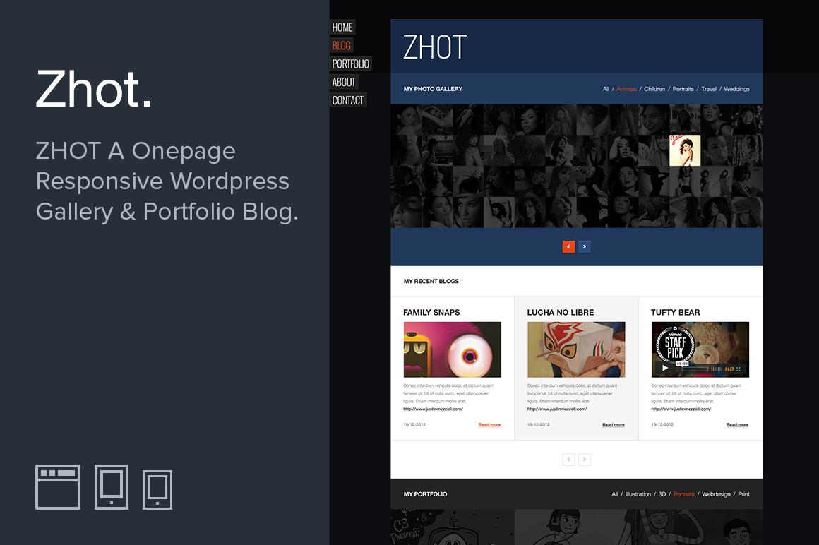 zhot responsive wordpress portfolio wordpress themes on creative market. Black Bedroom Furniture Sets. Home Design Ideas