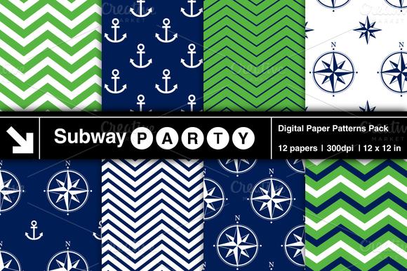 Nautical Navy Green Patterns V1