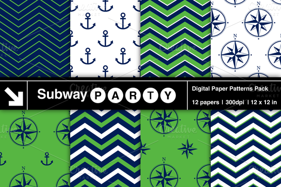 Nautical Navy Green Patterns V2