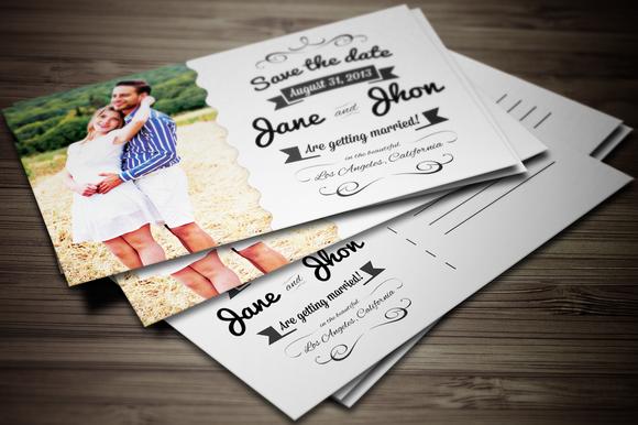 Elegant Wedding Invitation Postcard Invitation Templates