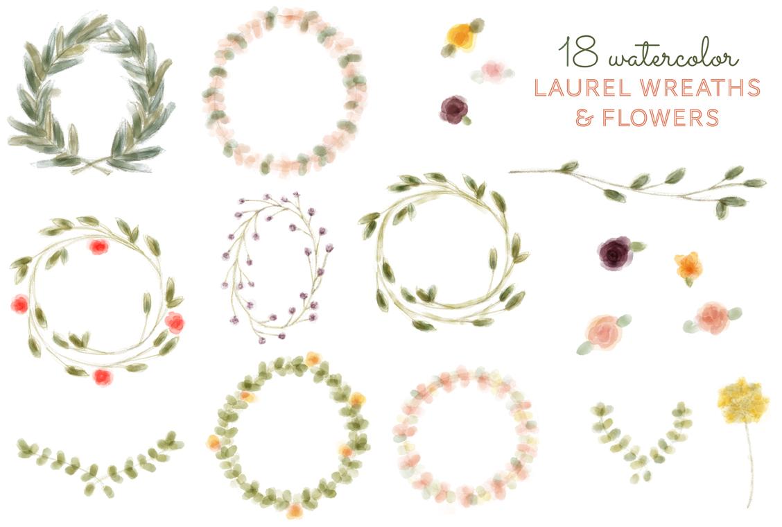 18 Watercolor Laurel Wreath & Flower ~ Illustrations on Creative ...