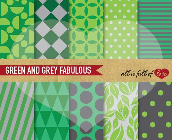 Printable Patterns Green Grey