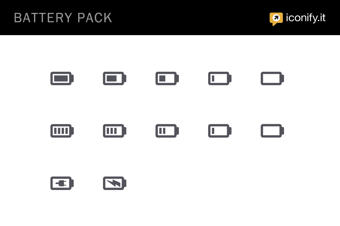 battery pack icon set