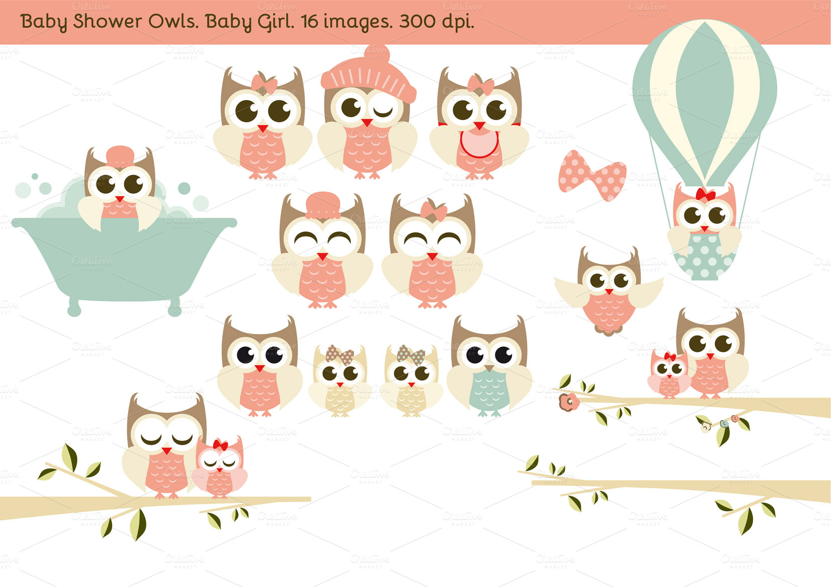 Girl Showering Clipart Baby Shower Owls Baby Girl