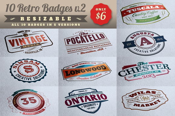 10 Retro Signs or Badges v.2 + Bonus - Objects