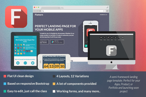 Flattern – All in One Landing Page ~ Bootstrap Themes  Free Download