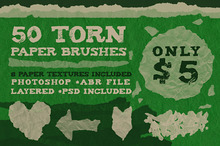 50 Torn Paper Brushes + 8 Textures