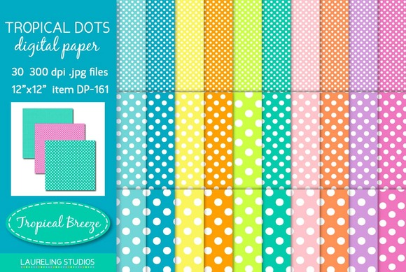 Tropical Dots Polka Digital Paper