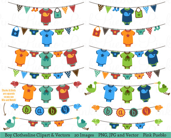 Baby Shower Decorations Vector ~ Baby boy clothesline clipart vectors illustrations on