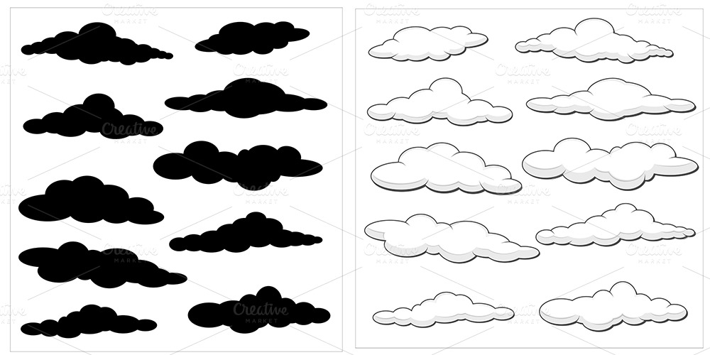 10947 Cartoon Clouds on vector furniture symbols
