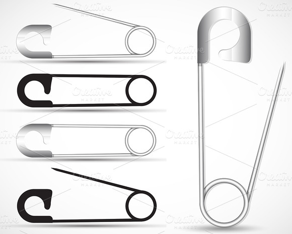 Safety Pins Vector Safety Pins Vector