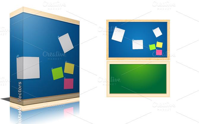 Noticeboard vectors illustrations on creative market for Creative notice board