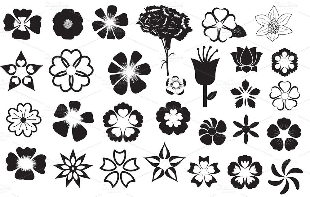 Flower Silhouette Clip Art Flower silhouettes