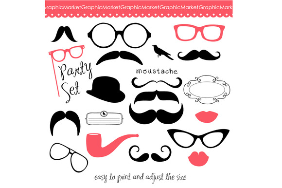 Mustache, Spectacles and Lips Kiss ~ Illustrations on Creative Market
