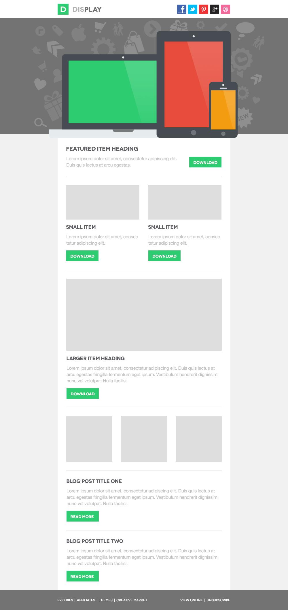 display responsive email template website templates on creative market. Black Bedroom Furniture Sets. Home Design Ideas