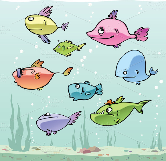 Set of the Cartoon Fishes no.1 - Illustrations
